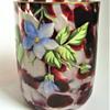 Signed Harrach Oxblood Splatter Art Glass Tumbler and Finger Bowl Set with Hand Painted Floral Enameling
