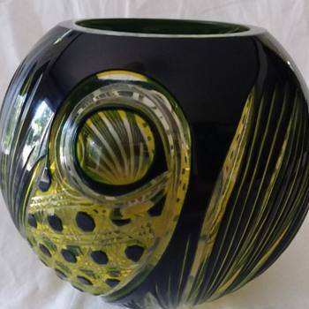 Vtg Bohemian Czech Cased Glass Black & Yellow Cut to Clear. Schappel? Haida? - Art Glass