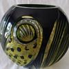 Vtg Bohemian Czech Cased Glass Black & Yellow Cut to Clear. Schappel? Haida?
