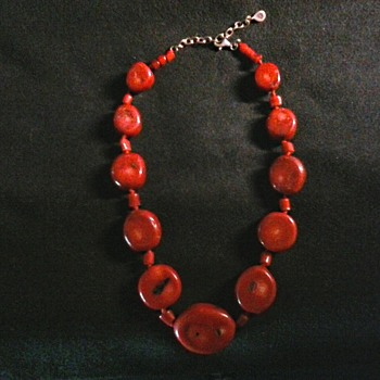 """Barse"" Dyed Red Bamboo Coral Necklace / Circa 21st Century"