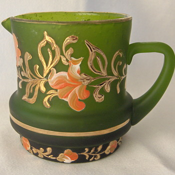 Lovely Small Bohemian Hand Painted Creamer In Satin Green Glass - Art Glass