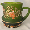 Lovely Small Bohemian Hand Painted Creamer In Satin Green Glass