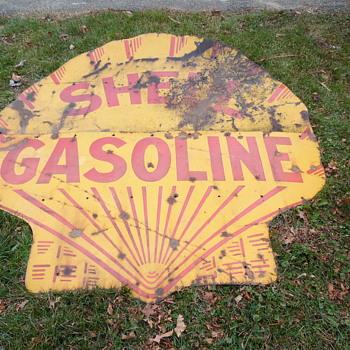 Early Shell Gasoline 2 Piece 6' Sign - Petroliana