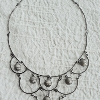 Vintage Mexican Silver Bib Necklace - Fine Jewelry