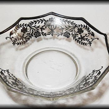 Small Glass Bowl with SILVER INLAY  - Glassware