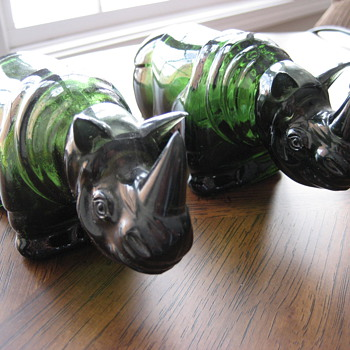 Vintage Avon Rhino Decanters - Animals