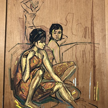 Painting on wood - Asian