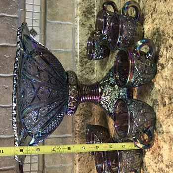 Punch Bowl Set/Carnival? Imperial Peacock? - Art Glass