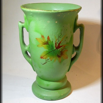 Old Trophy Vase ( maple leaf designs )  - Pottery