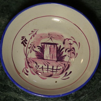 Small Plate with Purple/Pink Lustre Decoration - Pottery