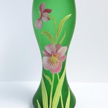 Goldberg Green vase with Enameled Orchid - Art Glass