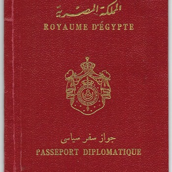1950 Royal Egyptian DIPLOMATIC passport - Paper