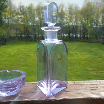 Bohemian Alexandrite Decanter and Ashtray - Art Glass