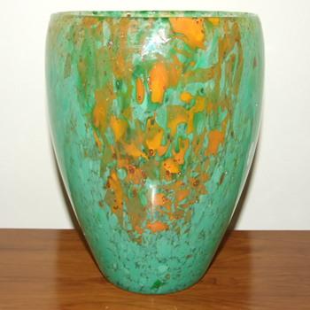 Mottled Green & Orange Glass Vase with Gold Aventurine - Art Glass