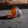 Vintage Sterling Amber Leaf Ring & Sterling Scarab/Garnet/Marcasite Ring