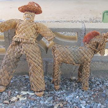 Peruvian basketry man n horse  - Advertising