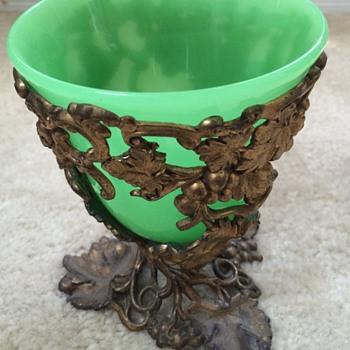 Green Opaline Bronze Mounted Vase - Art Glass
