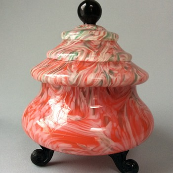 Czech glass lidded candy dish - Art Deco