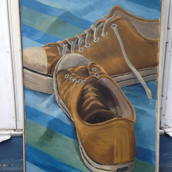 still life oil painting sneakers 1950-1960s - Fine Art