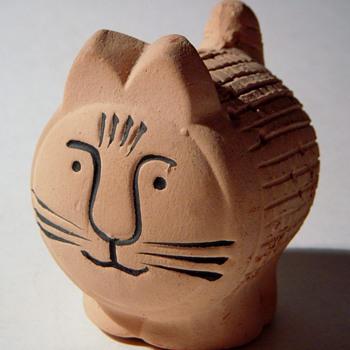 Lisa Larson? Pottery Cat with Holes, Stopper bottom,...Swedish?