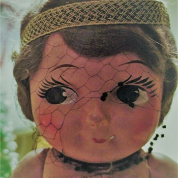 Composition Carnival Doll (Possibly GEM Chubby Kid Doll) Original Clothes Mohair Wig