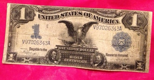 114 Years Old...1899 One Dollar Black Eagle Silver Certificate With ...
