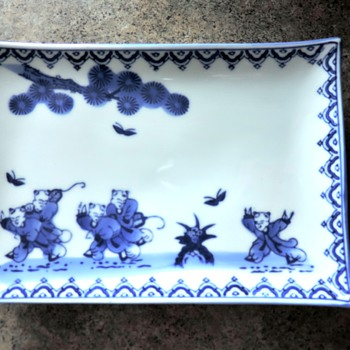 antique Chinese blue and white porcelain tray marked