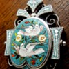 VICTORIAN SILVER MICRO MOSAIC TWO DOVE PENDANT CIRCA 1860 ON MAGNIFICIENT CHAIN.