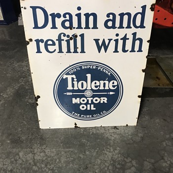 Tiolene motor oil sign  - Petroliana