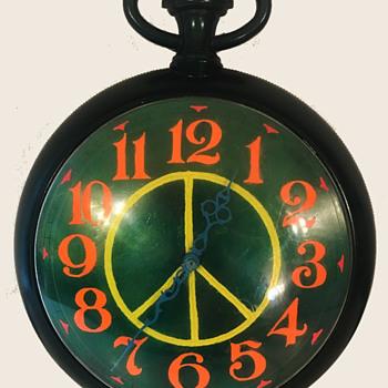 Hippie Era Hand Painted 1970's Peace Symbol Folk Art Clock - Clocks