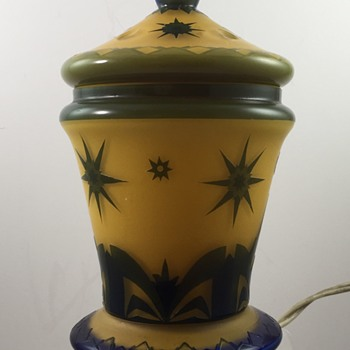 LUCIDUS illuminated: Loetz acid cutback Perfume Lamp, PN unknown, ca. 1928