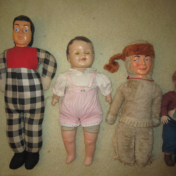 Four Old Antique Mystery Porcelain Stuffed Dolls - Dolls