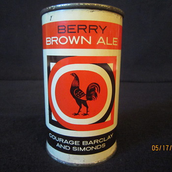 Tough 1950's UK Imperial 12 Fl Ozs Berry Brown Ale Courage Barclay and Simonds Rooster Flat Top Steel Beer Can - Breweriana