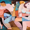 Dorothy Braund party two oil painting