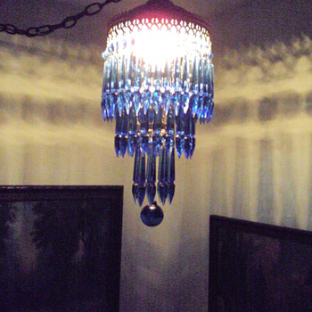 Deco style cobalt blue chandelier from the Palmer House, Chicago? - Lamps
