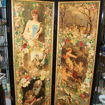 3 Fold Scrap Screen circa 1885 Victorain - Victorian Era