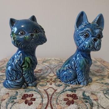 Cute Blue/Green Cat & Dog - Animals