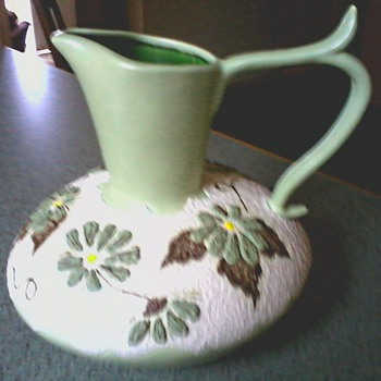Large Matte Green and Textured White Raised Floral Design Pitcher /Circa 1971 - Pottery