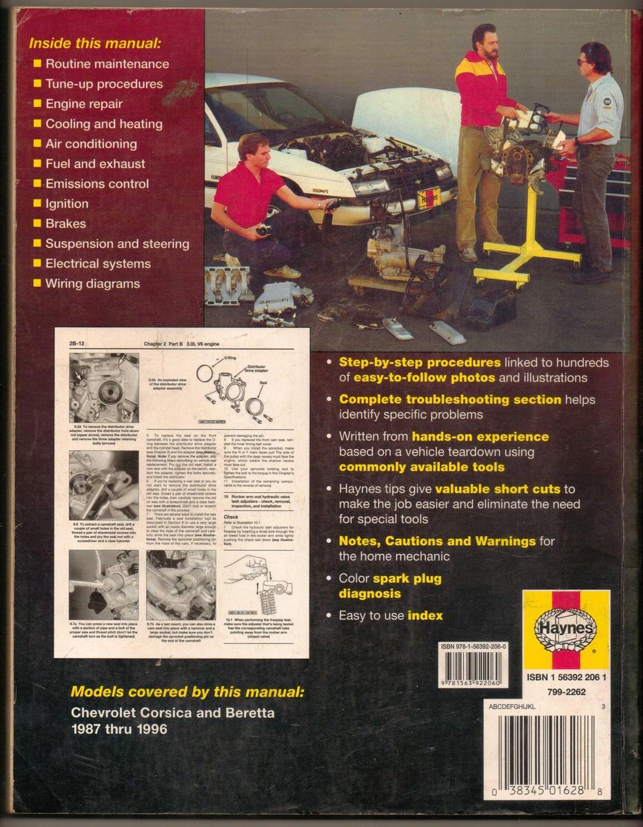 Haynes Repair Manual 1987 1996 Chevrolet Corsica Beretta Collectors Weekly