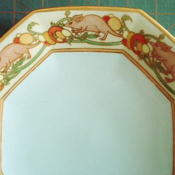 T&V Limoges Handpainted Plate with Rats! - China and Dinnerware