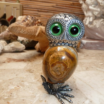 925 silver and onyx owl statuette cant find any info or any similar owl HELP