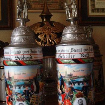 Mega-Rare Imperial German Companion Reservist's steins - Breweriana