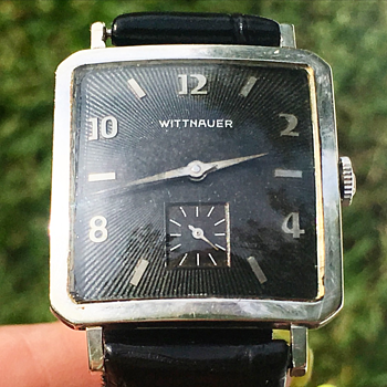 Vintage Wittnauer Watch Co. 17j Wrist Watch 10k Gold Filled Black Detailed Dial