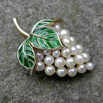 Trifari Grape Pin - Gems of the Sea - Costume Jewelry