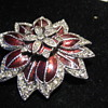 Silver and Red Enamel Poinsettia Flower Brooch by MONET