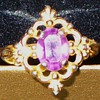 Purple Glass and Gold Filigree Ring