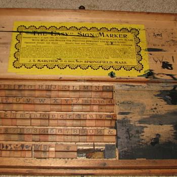 Antique Printing/Sign Marker Kit - Office