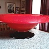 Orange and Black Glass Pedestal Bowl / Unknown Maker and Age