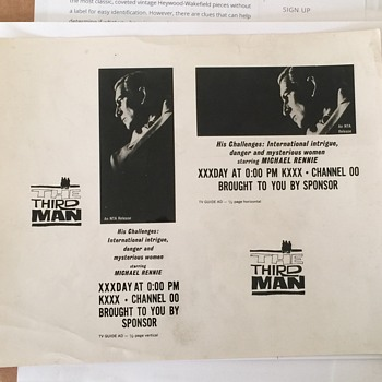 Vintage T.V. Guide Ad Photograph THE THIRD MAN