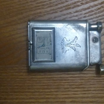 Vintage rare 1930s Sterling silver elign Otis pocket lighter with watch - Tobacciana